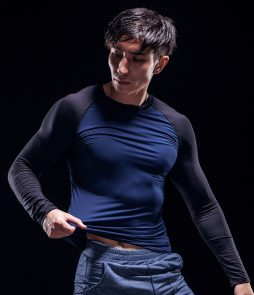 t shirt compression bleu noir grappling